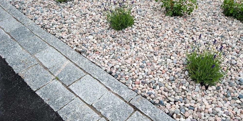 Kanstein, brostein, asfalt og grus